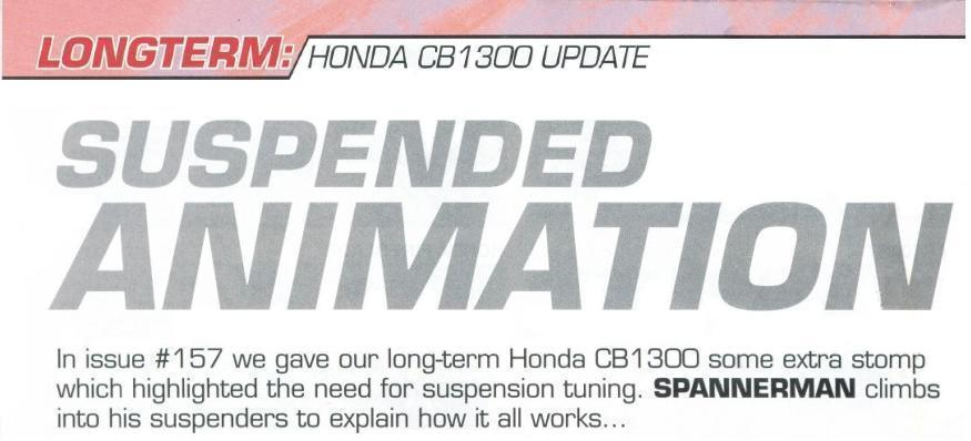 'SUSPENDED ANIMATION' Honda CB1300 - the  results of suspension modifications